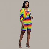 Rainbow Color Strapless Playsuits And Jacket Coat 2 Piece Set DM-8089