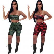 Sexy Camouflage Print Tube Tops And Shorts 2 Piece Set NK-8453
