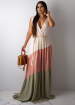 Sexy Deep V Neck Patchwork Long Maxi Dress SHD-9142