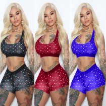 Heart Print Tank Tops And Shorts Two Piece Sets HM-6140