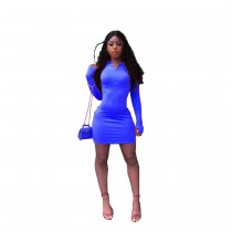 Solid Long Sleeve Mini Bodycon Dresses MDO-9067