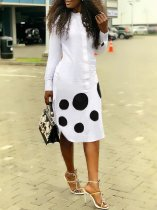 Dot Print Long Sleeve Midi Dresses OD-8254
