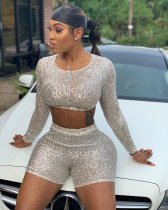 Sexy Sequins Long Sleeve Two Piece Shorts Sets LSL-6313