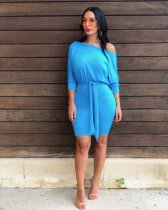 Solid Oblique Neck High Waist Bodycon Dresses NK-8466