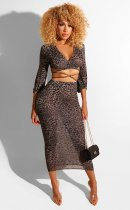 Sexy Leopard Print Deep V Lace Up Long Skirt Sets BS-1115