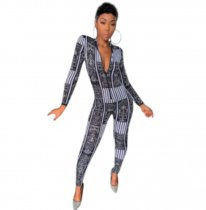 Trendy Printed Long Sleeve Front Zipper Bodycon Jumpsuits NIK-046