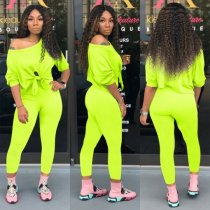 Solid Long Sleeve Casual Sporty Two Piece Pants Set TE-3798