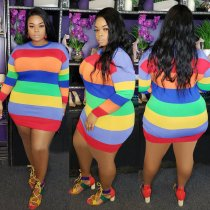 Plus Size 4XL Colorful Stripe Long Sleeve Mini Dress ME-5061