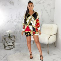 Plus Size Chain Print Turndown Collar Long Sleeve Shirt Dress SMR9374