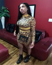 Leopard Print Long Sleeve Mini Skirt Two Piece Sets LA-3137