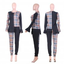 Plaid Patchwork Asymmetry Full Sleeve 2 Piece Pants Suit NIK-056