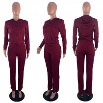 Solid Color Hooded Long Sleeve Two Piece Pants Suit GS-1157