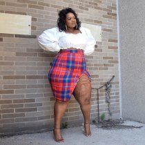 Plus Size 4XL Sexy Crop Top Plaid Split Skirt 2 Piece Sets ME-5064