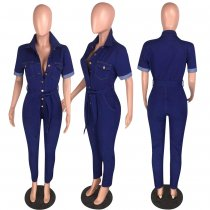 Casual Denim Short Sleeve Button Up Jeans Jumpsuits WZ-8219