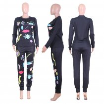 Casual Print Long Sleeve Top And Pants 2 Piece Sets ME-335