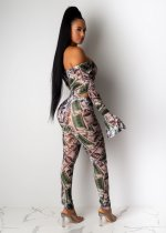 Dollars Print Off Shoulder Full Sleeve One Piece Jumpsuits SHD-9178
