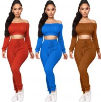 Sexy Knitted Off Shoulder Sweater Two Piece Pants Sets YMT-6104