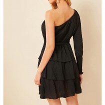 Black Sexy One Shoulder Cascading Mini Cake Dress ASL-6159