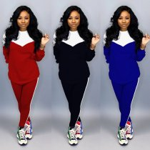 Contrast Color Tracksuit Long Sleeve Two Piece Sets CH-8067