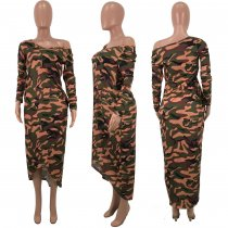 Camouflage Print Long Sleeves Irregular Maxi Dress CH-8068