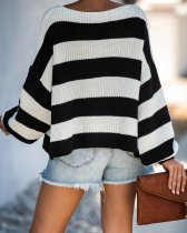 Black White Stripe Loose Knitted Sweater OSM-8007