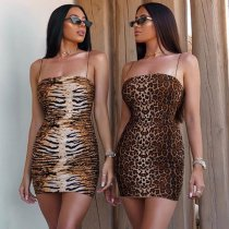 Leopard Print Spaghetti Strap Sexy Mini Club Dress BLG-981151