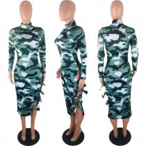 Camouflage Print Hollow Out Full Sleeve Long Dresses KSN-5079