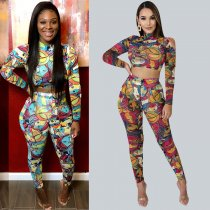 Cartoon Print Long Sleeve Two Piece Pants Set AL-144