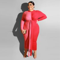 Plus Size 5XL Long Sleeves Tie Up Bodycon Maxi Dress OSS-19420
