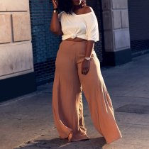 Solid Color Loose Pleated Wide Leg Long Pants OD-8314