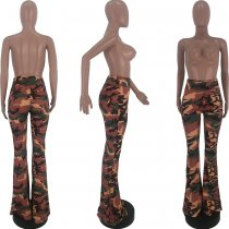 Camouflage Print Casual Long Boot Cut Pants CQ-5287