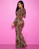 Plus Size Sexy Leopard Print Crop Top Flared Pant Sets YSF-316