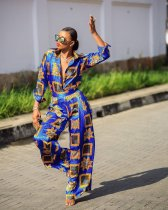 Trendy Printed Blouse Wide Leg Pants 2 Piece Suits SC-691
