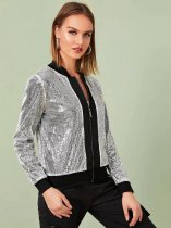 Casual Silver Sequin Zipper Jacket Coat TR-2006