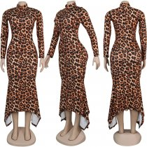 Leopard Camo Print Irregular Long Sleeve Maxi Dress NY-8862