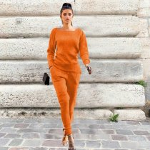 Solid Knitted Long Sleeve Casual Two Piece Pants Suit TR-868