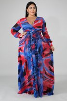 Plus Size 4XL Printed V Neck Long Maxi Dresses OMF-030