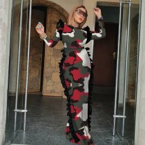 Leopard Camouflage Print Ruffles Side Maxi Dresses TE-3872