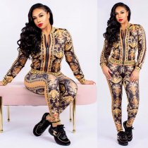 Vintage Print Casual Zipper Two Piece Outfits SMR-9460