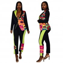 Trendy Printed Blazer Coat Long Pants 2 Piece Suits TE-3877