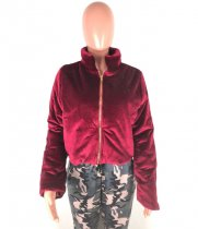Front Zipper Velvety Cotton Jacket Coats OSM-4545