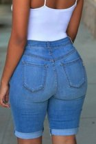 Trendy Denim Ripped Holes Jeans Shorts OMF-5040