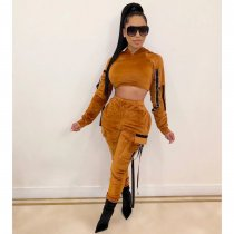 Solid Hooded Long Sleeve Velvet Two Piece Sets CM-635
