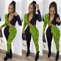 Leopard Print Patchwork V Neck Two Piece Pants Sets MOS-990