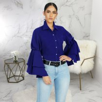Trendy Ruffles Sleeve Turndown Collar Blouse Shirt SMR-9455