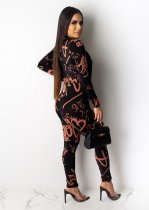 Casual Printed Short Coat Strap Jumpsuits 2 Piece Set ML-7265