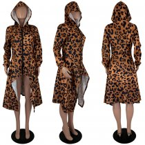 Leopard Zipper Swallowtail Casual Hoodies Sweatshirt MOY-5153