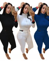 Plus Size Casual Zipper Tracksuits Two Piece Sets LQ-5111
