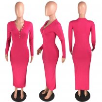 Solid V Neck Long Sleeve Slim Maxi Dresses WZ-8244