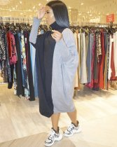 Contrast Color Turtleneck Casual Loose Maxi Dress BS-1148